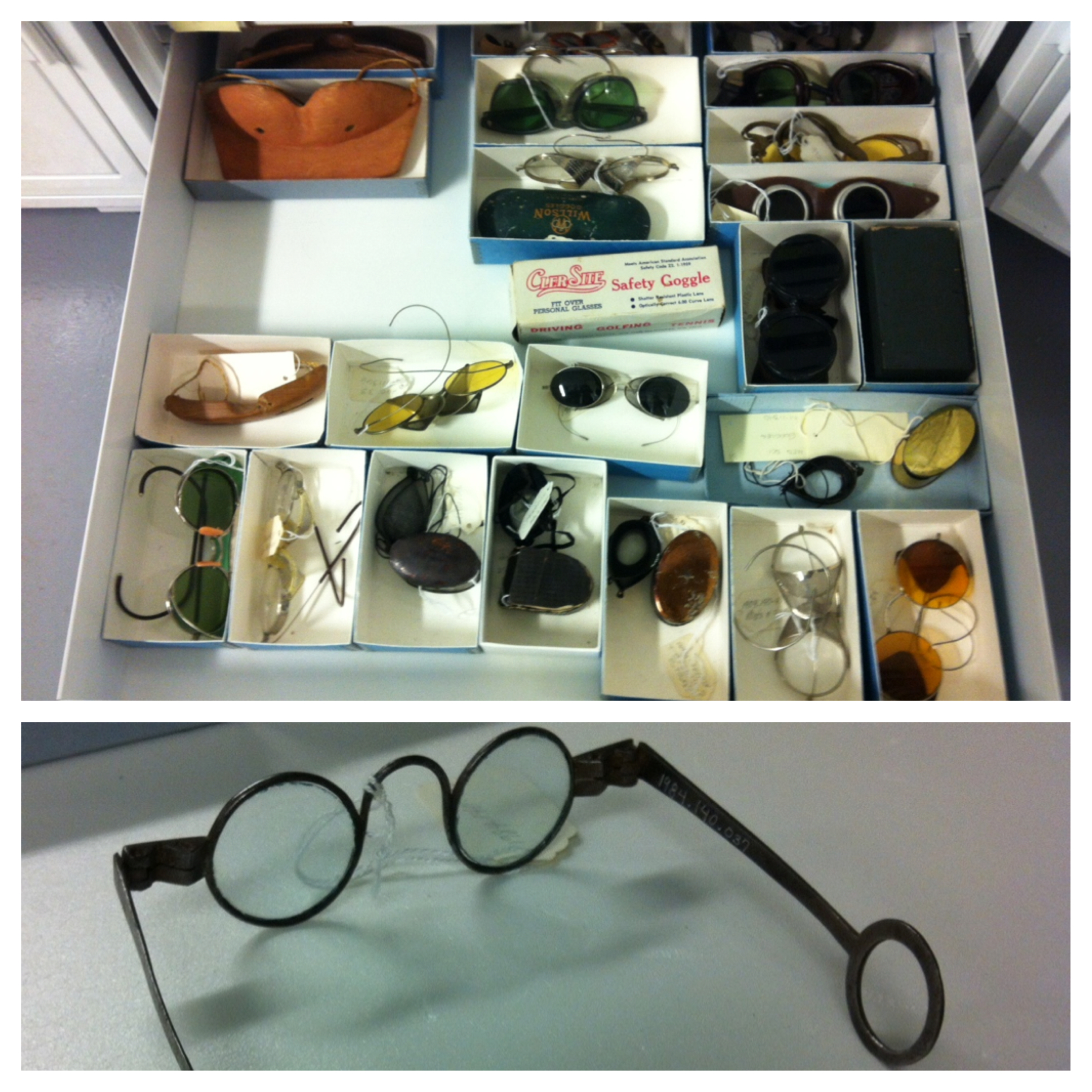 A large collection of historic eyeglasses