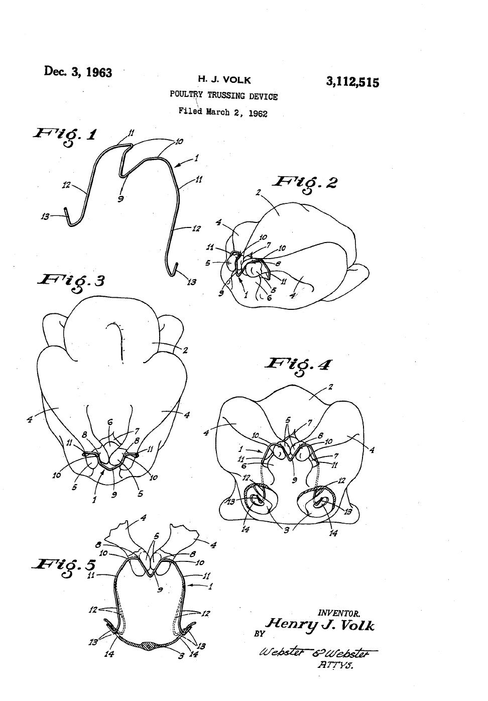 Patent drawing for the Hok-Lok, a Poultry Trussing Device.