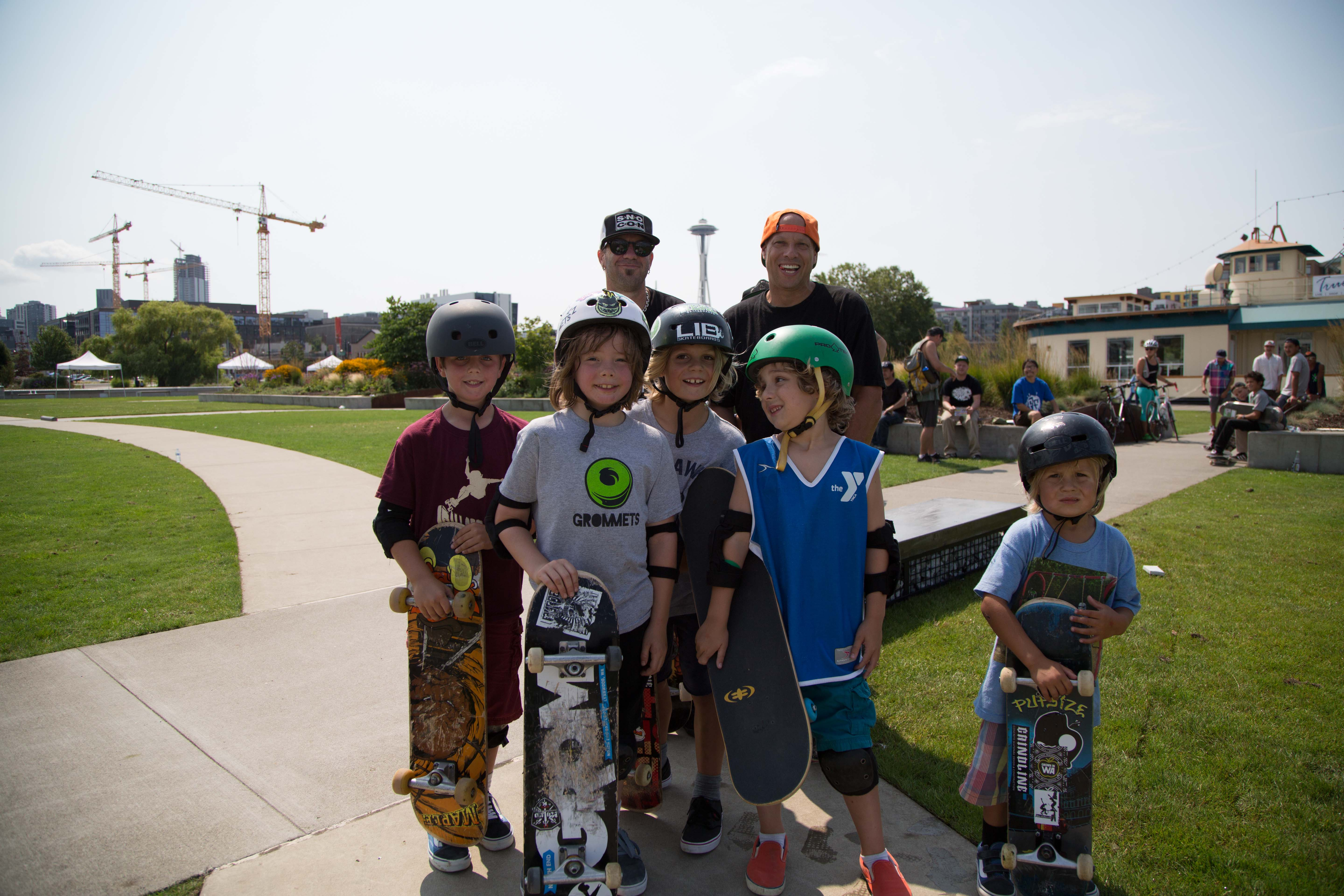 A group of young boys at the free skateboarding clinic at Innoskate in Seattle