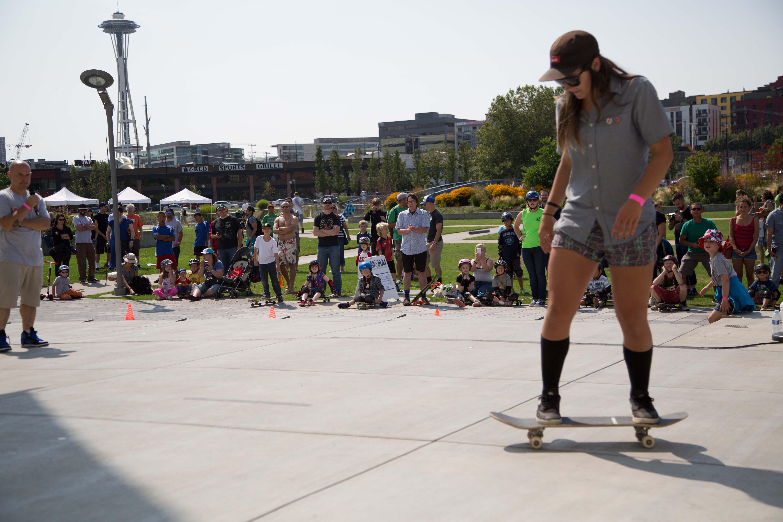 Marshall Reid narrates as Kristin Ebeling demonstrates various skateboard tricks.