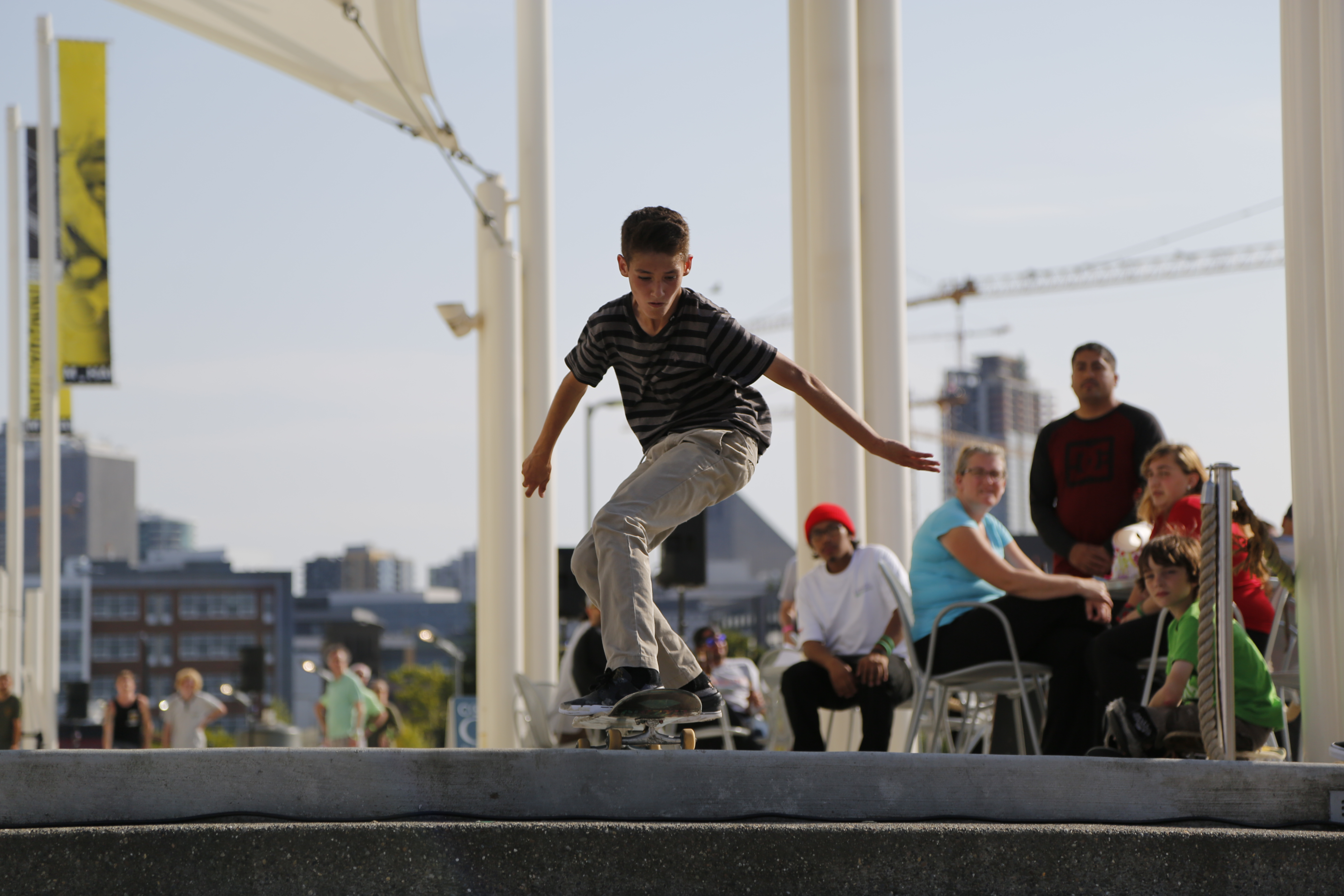 A young boy heads into a trick during a skateboarding contest at Innoskate in Seattle