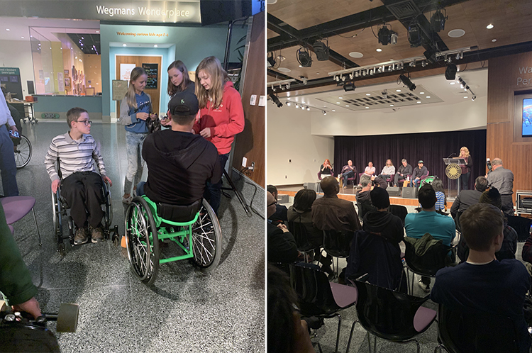 "Composite image: children talking to Aaron ""Wheelz"" Fotheringham (left) and program panel onstage (right)"
