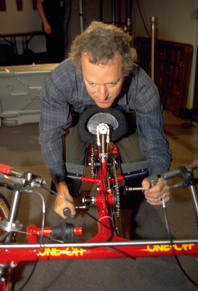 Image of Mike Auspurger on his handcycle.