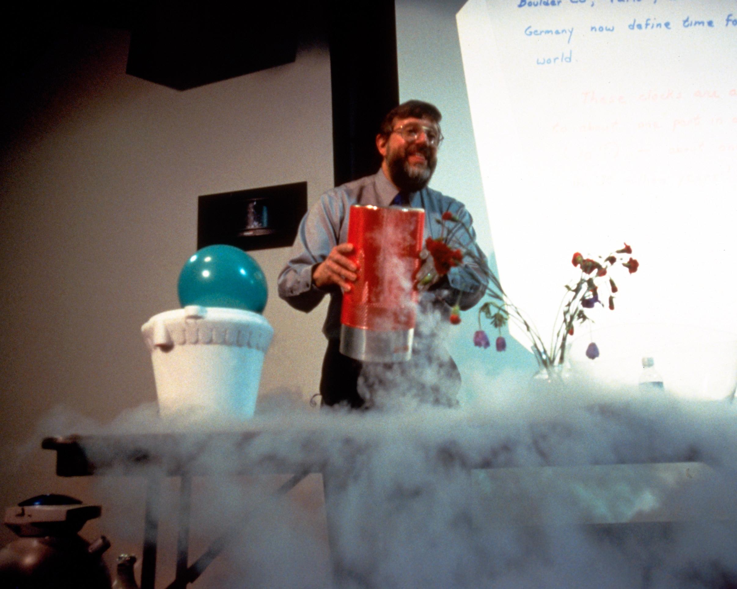 Image of William Phillips with fog from liquid nitrogen