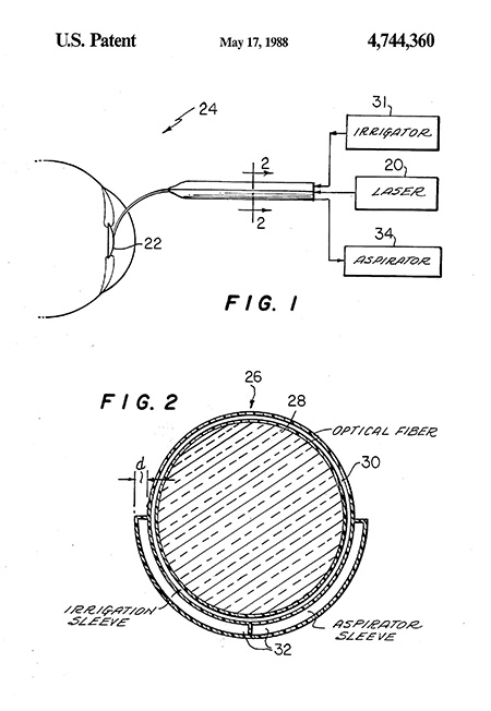 Line drawings from patent showing laser, optical fiber, etc.