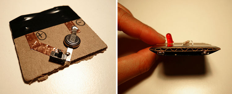 Composite image showing 2 views of small piece of cardboard with battery and wiring