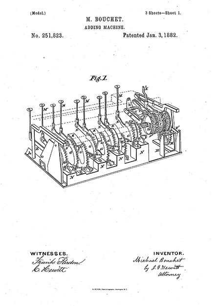 Drawing from patent of inner workings of machine