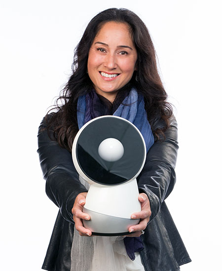 Breazeal holding rounded robot