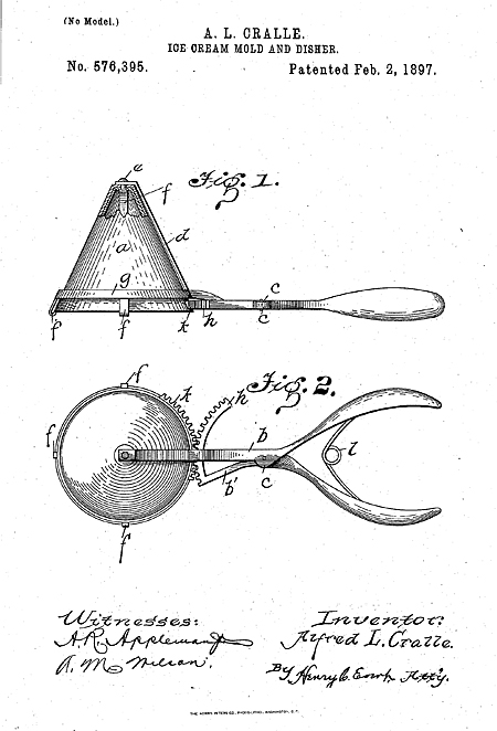 Two figures from page one of US Patent 576,395 issued in 1897 to Alfred L. Cralle for a mechanical ice cream scoop. One figure shows an pyramid-shaped scoop and the other illustrates the ratchet mechanism for getting the ice cream out of the scoop.
