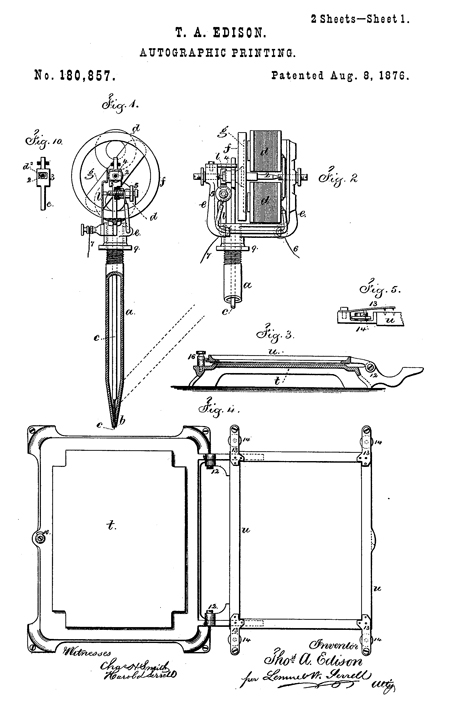 "Drawing from Thomas Edison's patent for ""autographic printing,"" 1876"