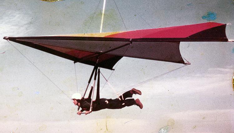 Profile view of Hamilton hang gliding