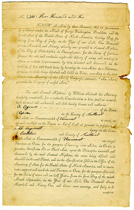 Yellowed first page of license for Samuel Hopkins patent
