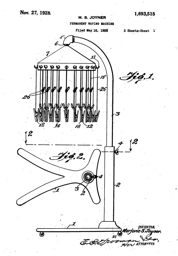 First page of drawings from US Patent 1,693,515 received by Marjorie Stewart Joyner on 27 November 1928. Figure 1 shows a floor-standing machine with a suspended hood at the top. Numerous wires and hair clips dangle from the hood. Figure 2 is a detail of the rolling base for the machine.
