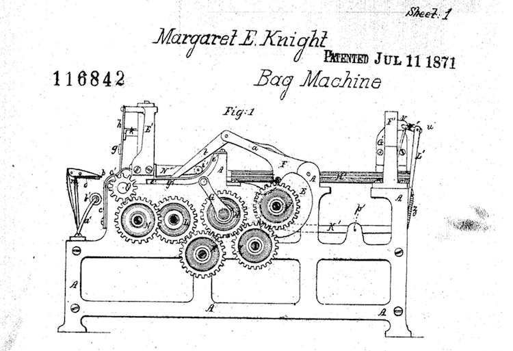 Figure 1 of Margaret Knight's original patent for a machine to make square-bottom paper bags show 6 geared, intersecting rollers on a metal frame. A horizontal bed and an articulated arm move the paper through the bag-making process.