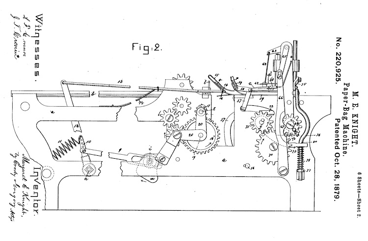 Figure 2 of Margaret Knight's second patent for an improved paper bag making machine shows 2 sets of 3 gears attached by articulated arms and springs to a frame and horizontal bed where the paper is moved through the bag making process.