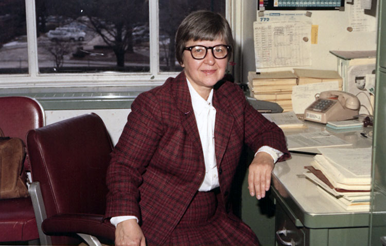 Kwolek at her desk