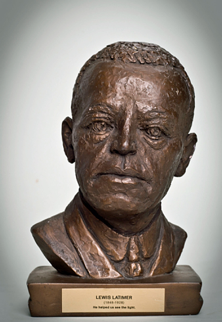 A 1967 bust by artist Inge Haridson of Lewis Latimer, made of plaster, paint, metal, paper, adhesive, and felt