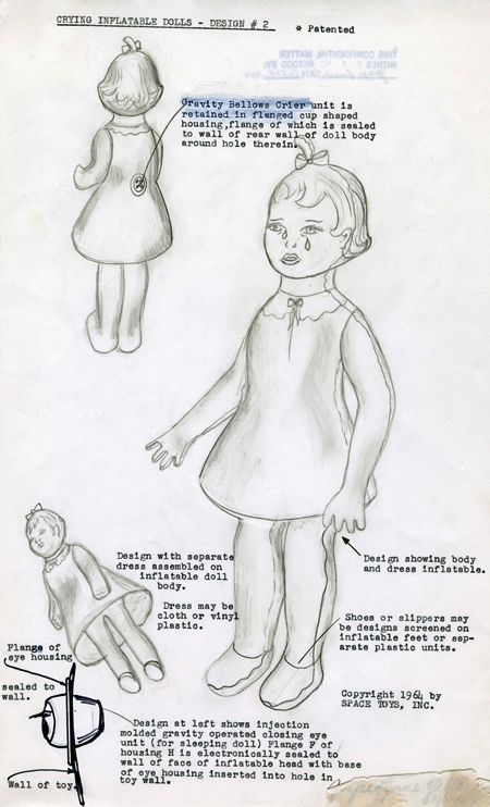 Drawings and instructions for inflatable crying doll, 1964