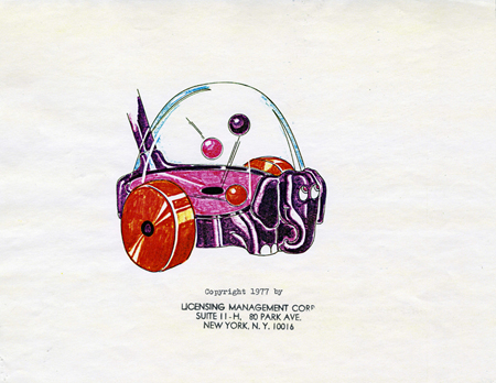 Color drawing for elephant popper push toy, 1977, showing balls inside housing bouncing