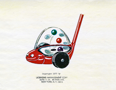 Color drawing for snake popper push toy, 1977