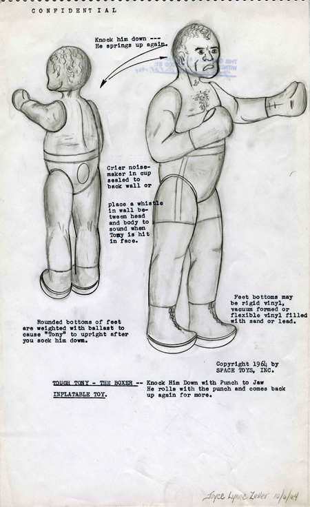 Drawings and instructions for Tough Tony inflatable boxer doll, 1964