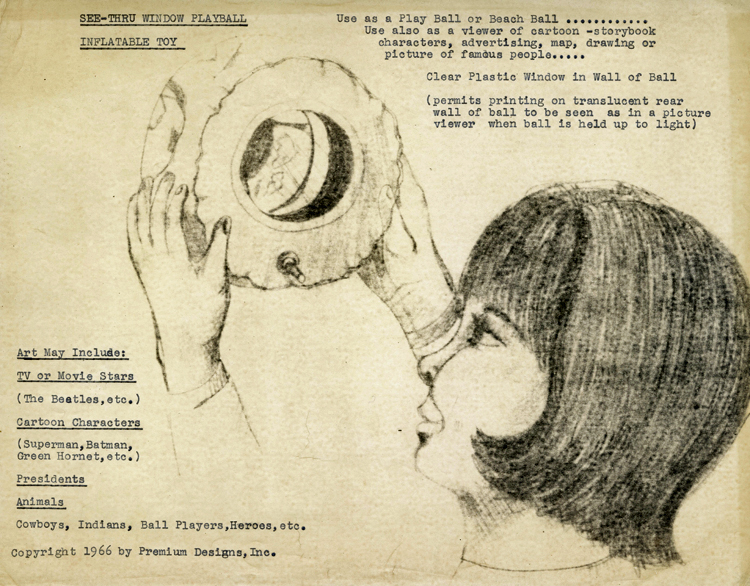 Drawing showing little girl looking through see-through window play ball inflatable toy, 1966