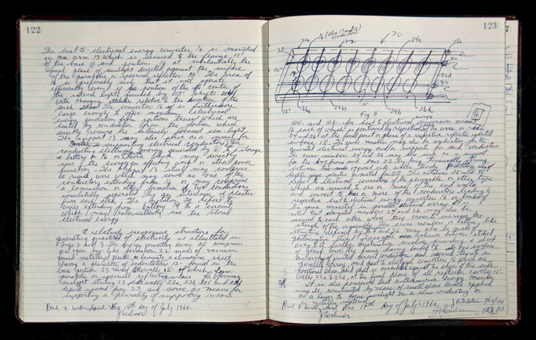 Jerome Lemelson's invention notebook volume A, pages 122–123, July 14, 1960