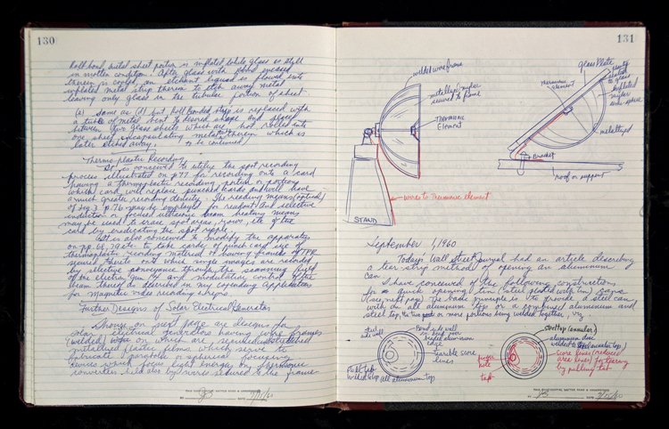 Jerome Lemelson's invention notebook volume A, pages 130–131, includes drawings of semi-hemispheres that focus the sun's rays with metallized plastic film stretched over a wire frame.