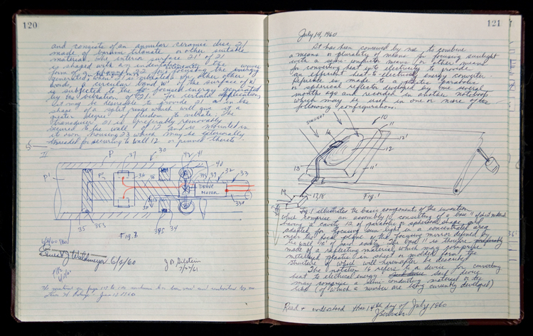 Jerome Lemelson's invention notebook volume A, pages 120–121, July 14, 1960