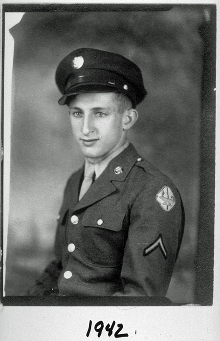 Three-quarters portrait photo of Jerome Lemelson in his Army Air Corps uniform in 1942.