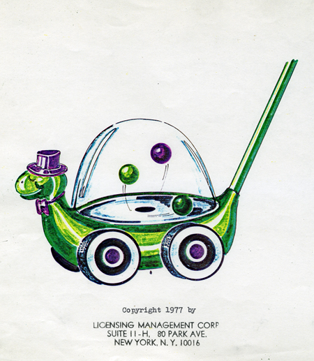 Color drawing for turtle popper push toy, 1977. Smiling turtle is wearing a top hat and bow tie.