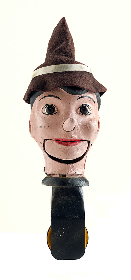 Prototype for Pinocchio-like spring-head toy with articulated jaw and nose, 1982–1983