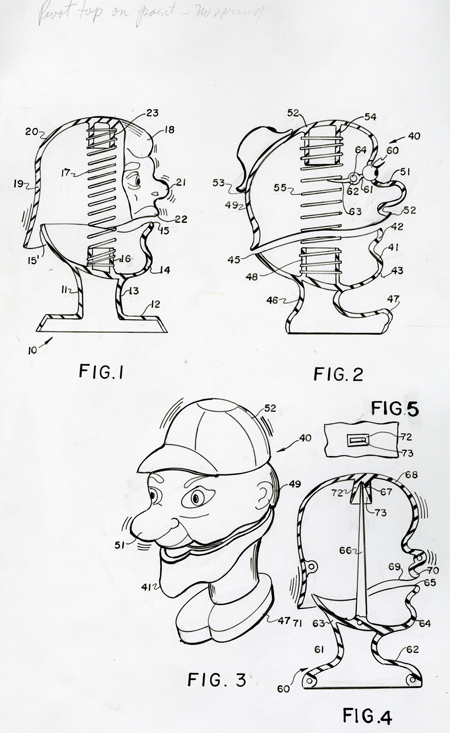 Four spring-head toy patent figures, 1982–1983