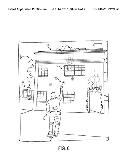 Figure from patent application showing person throwing smoke kit to someone on the second floor