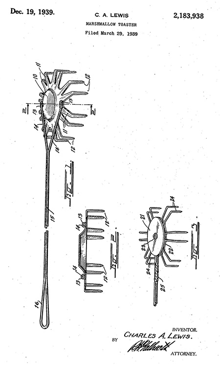 Patent line drawings of a long handled utensil with several prongs for holding marshmallows