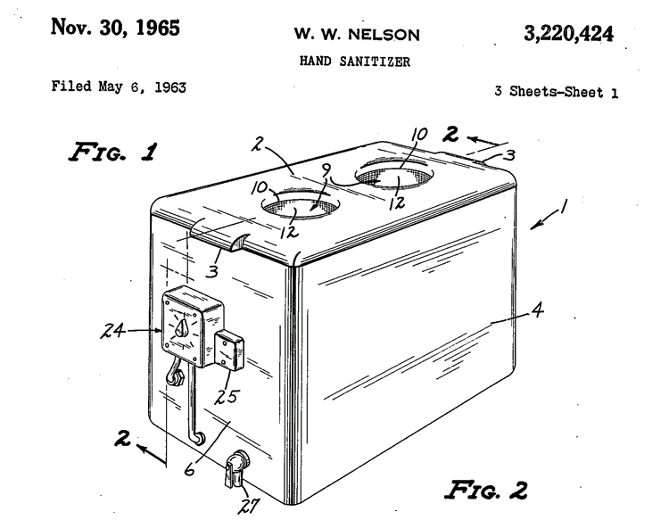 Patent drawings showing a hand sanitizer apparatus
