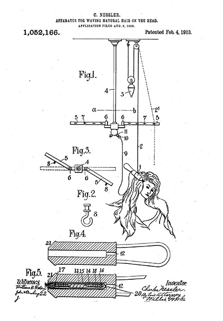 Patent drawing showing method of curling hair
