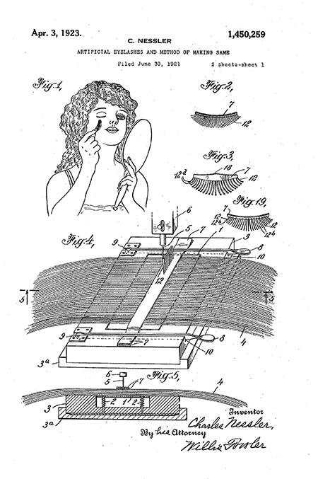 Patent drawing showing, in part, a woman affixing an artificial eyelash
