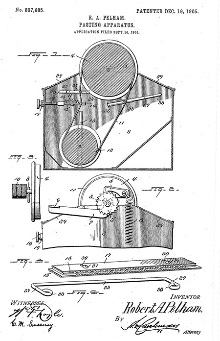 Figures of wheels, pulleys, gears, and levers from on page 1 of US Patent 807,685