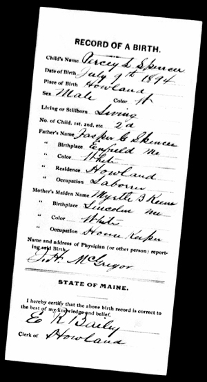 Percy LeBaron Spencer birth record 9 July 1894