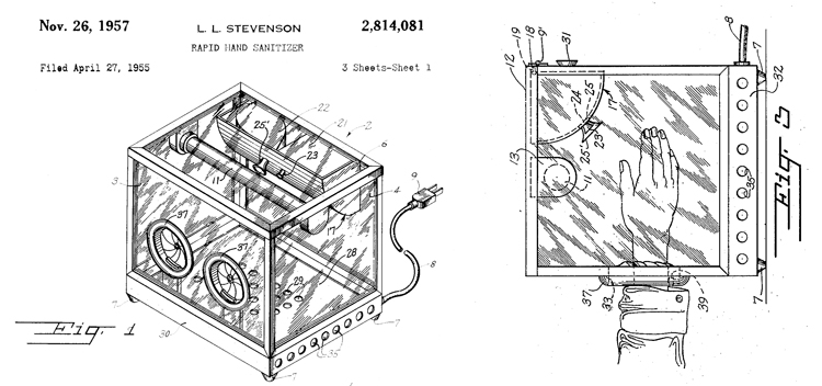 Patent drawings showing a hand sanitizer box and illustrating a user inserting hands into the apparatus