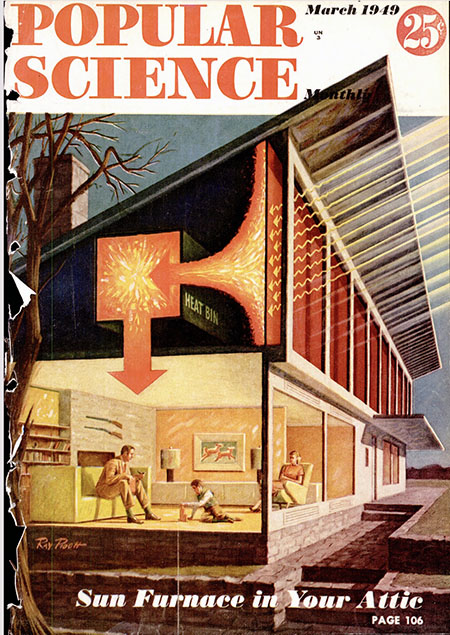 Cover of Popular Science magazine with drawing of solar house