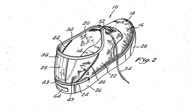 Patent drawing of a sneaker viewed from the heel end