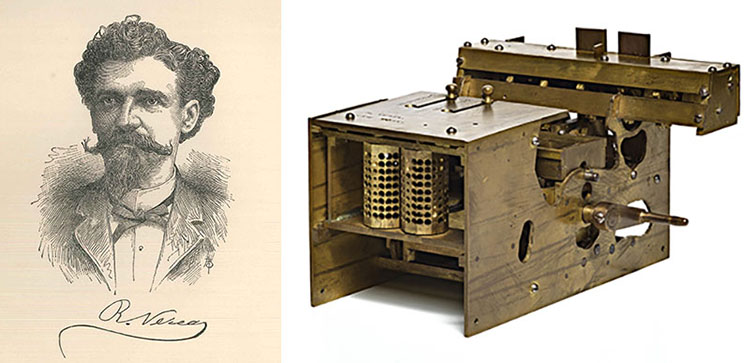 Composite image, with portrait of Verea on left and metal patent model on right