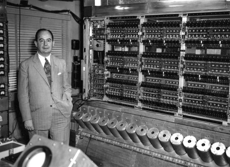 John von Neumann posing with the IAS computer, around 1951