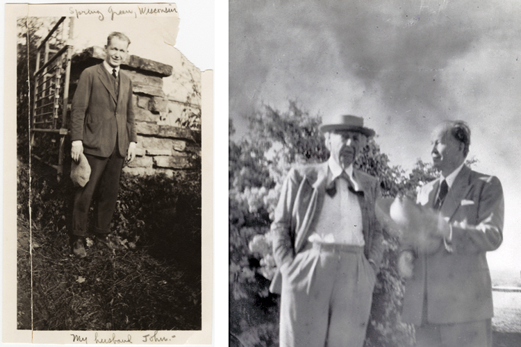 2 photos: left, a snapshot of John Lloyd Wright wearing a casual suit, sweater vest, and tie and holds a cap in his hand, standing in front of a log cabin; right, an older JL Wright stands with his father Frank Lloyd Wright outdoors in a candid snapshot.
