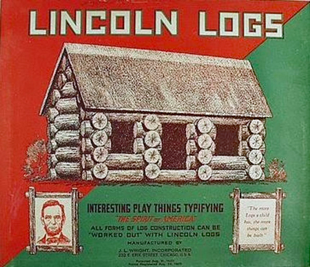"Lincoln Logs box cover with a green and red background and a log cabin, a portrait of Abraham Lincoln, and inset text : ""The more Logs a child has, the more things can be built. . . . All forms of log construction can be worked out with Lincoln Logs."""