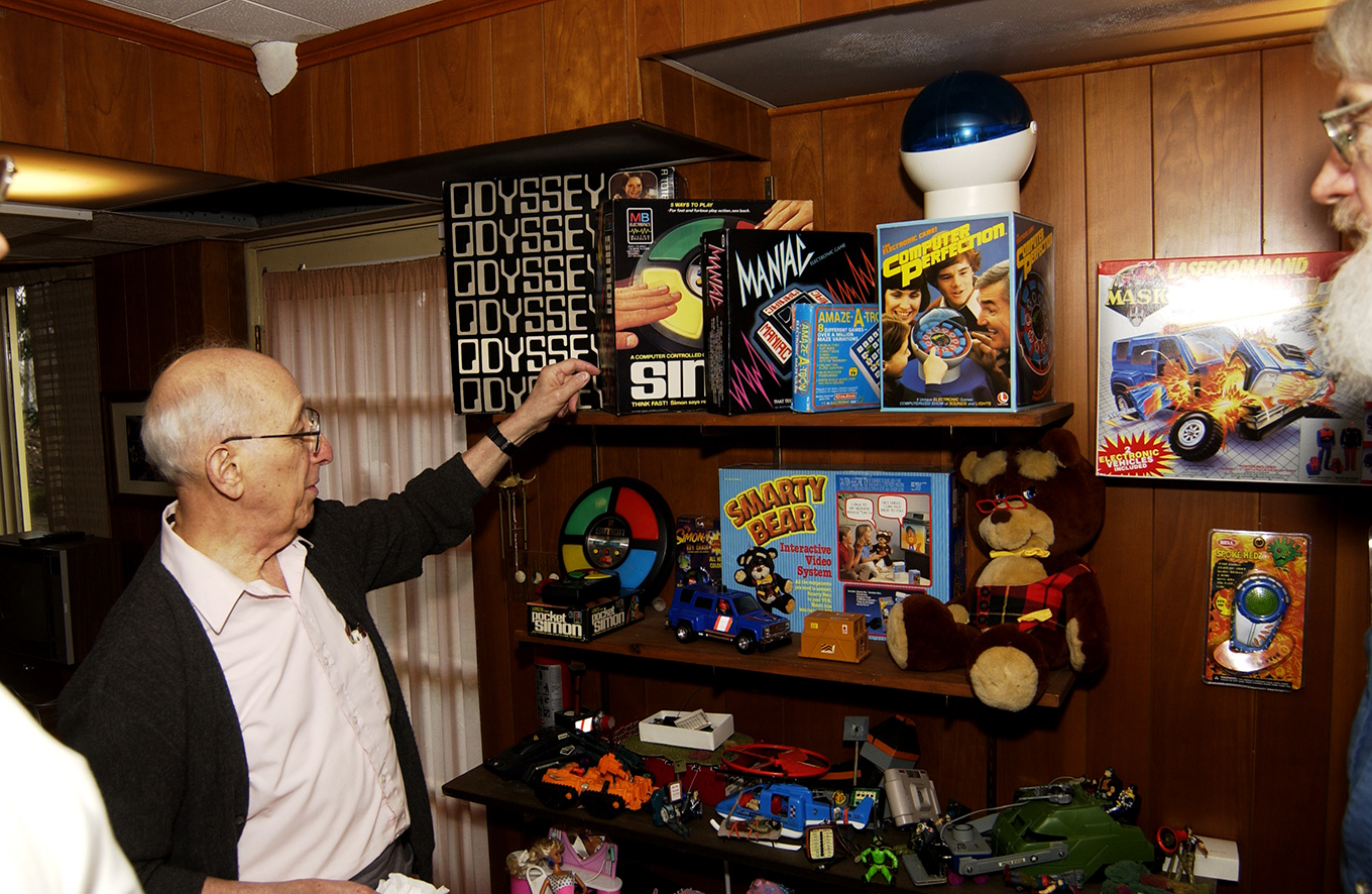 Ralph Baer shows off the toys that occupy his basement workshop--many of which he invented.