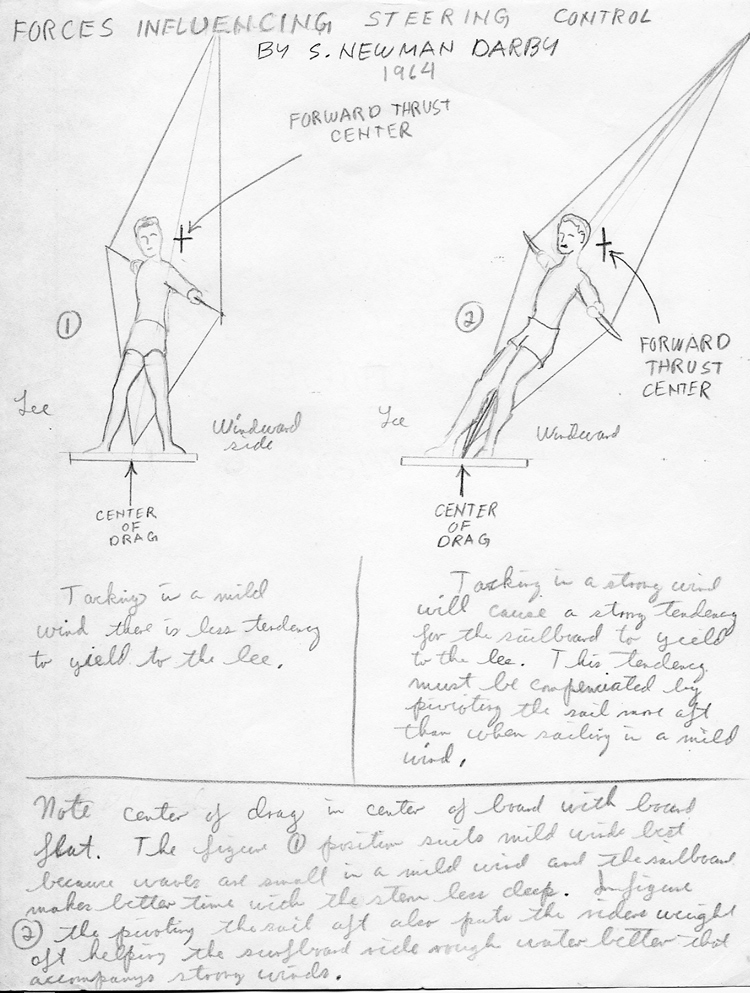 Hand-drawn illustration of forces influencing steering control, from Darby invention notebook