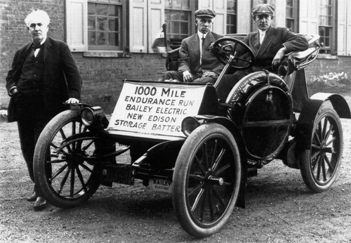 Edison tested his improved storage batteries in electric cars